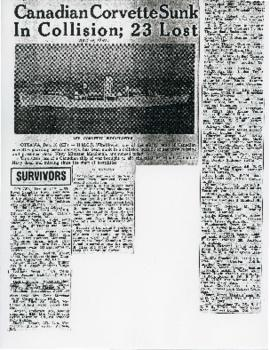 """Canadian Corvette Sunk in Collision; 23 Lost,"" clipping."