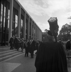Photograph of the Dalhousie made being carried to the Dalhousie medical centennial convocation ce...