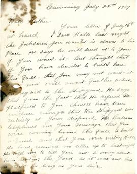 Letter from Scott Sidney Bigelow to his father