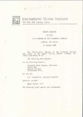 Twenty-first session of the Planning Council of the International Ocean Institute : [draft meetin...