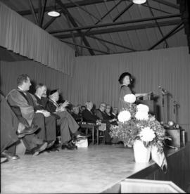 Photograph of the Queen Mother speaking at the opening of the Tupper Building