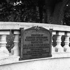 Photograph of a plaque in memory of Inspector Fitzerald in the Halifax Public Gardens