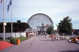 Photograph of the Biosphere in the pavillion after the fire