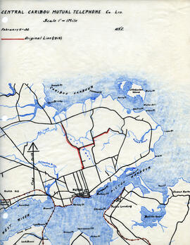 Map of Central Caribou Mutual Telephone Company's telephone line
