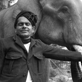 Photograph of Sankunni with Balakrishnan the elephant