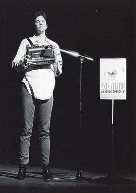 Photograph of Cathy Quinn performing at the 1985 Arts and Culture Assembly
