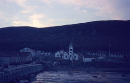 Photograph of the village of Nain, Newfoundland and Labrador at sunset