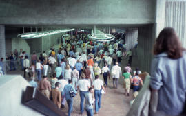 Photograph of people in the Pie-IX metro station