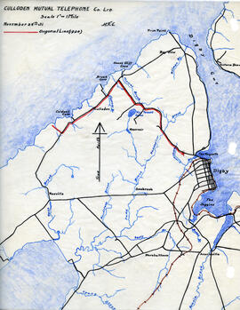 Map of Culloden Mutual Telephone Company's telephone line