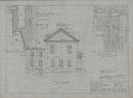 Technical drawing of the west elevation of a library for Dalhousie University