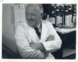 Photograph of Fred, the barman at the White Hart Hotel in Hythe, Kent, England