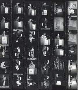 Contact sheet of photographs from the 1985 Arts and Culture Assembly