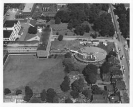 Aerial photograph of the F. H. Sexton Memorial Gymnasium construction