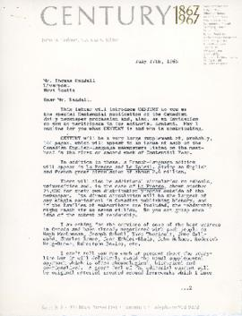 Correspondence between Thomas Head Raddall and Century magazine