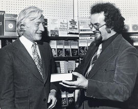 Photograph of two unidentified men in the Dalhousie Bookstore