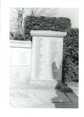 Photograph of a panel on the World War I memorial beside the old military canal in Hythe, Kent, E...