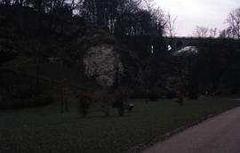 Photograph of the Adolphe Bridge in Luxembourg from a distance