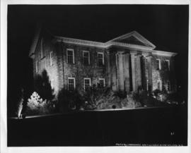 Photograph of the Arts Building at night