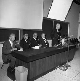 Photograph of a panel or other event for the Dalhousie medical centennial