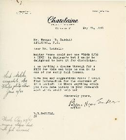 Correspondence between Thomas Head Raddall and Chatelaine