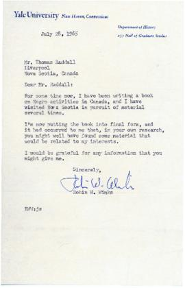 Correspondence between Thomas Head Raddall and Robin W. Winks