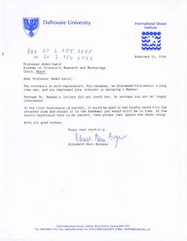Correspondence between Elisabeth Mann Borgese and Egyptian academics and government officials