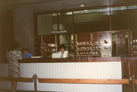 Photograph of the Circulation Desk in the Killam Memorial Library, Dalhousie University