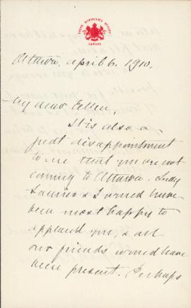 Letter from Sir Wilfrid Laurier to Ellen Ballon