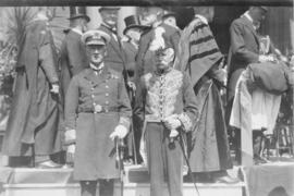 Photograph of two unidentified people in uniform at a Dalhousie reunion
