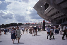 Photograph of crowds of people outside the stadium on opening day