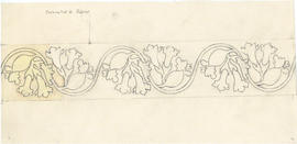 Drawing of circlet of mayflowers carved into the head of the Dalhousie University mace