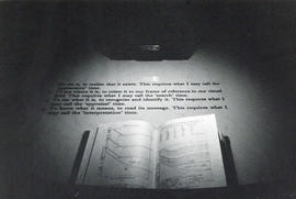 Photograph from Tutorial No. 1, an installation by Ian Murray