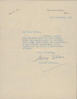 Letter from Mary Goldie, private secretary to Alice Mary, Princess of Albany, to Ellen Ballon