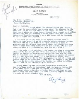 Correspondence between Thomas Head Raddall and Clay Perry