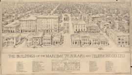 Drawing of the buildings of the Maritime Telegraph and Telephone Company