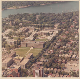 Aerial photograph of the University of King's College campus and the Northwest Arm