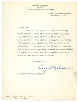 Letter from George W. Robinson to Archibald McKellar MacMechan Re: MacMechan's Letter of Sup...