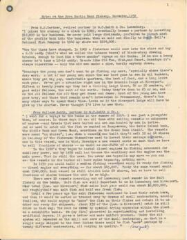 """Notes re the Nova Scotia Bank Fishery, November, 1952"""