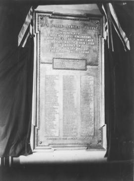 Photograph of a memorial in honour of engineers who died in WWI