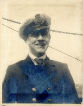 Photograph of Thomas Head Raddall in uniform as a wireless officer on the cable-ship Mackay-Benne...