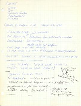 Minutes from June 26, 1975 board meeting