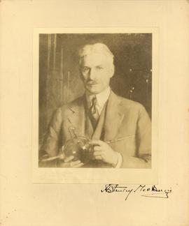 Photograph of a painting of A. S. MacKenzie as a scientist