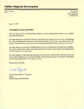 Correspondence between Elisabeth Mann Borgese and the Halifax Regional Municipality (HRM)