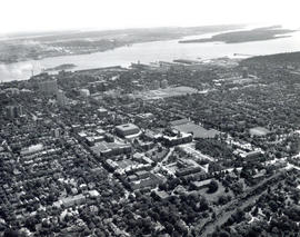 Aerial view of Dalhousie University campus looking northeast