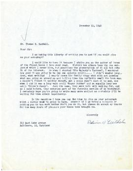 Correspondence between Thomas Head Raddall and Edwin K. Wilhelm