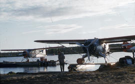 Photograph of two airplanes in Fort Chimo, Quebec