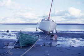 Photograph of two boats moored on shore in northern Quebec