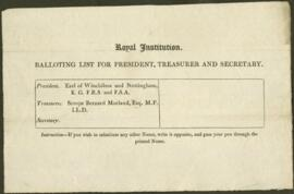 Balloting List for President, Treasurer, Secretary