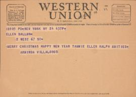 Telegram from Arminda Villa-Lobos to Ellen Ballon