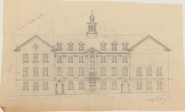 Technical drawing of the elevation of a Dalhousie arts building